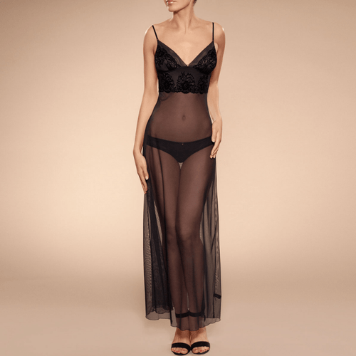 Ajour Adagio Sexy Sheer Mesh Long Nightgown- Famous Latvian Made