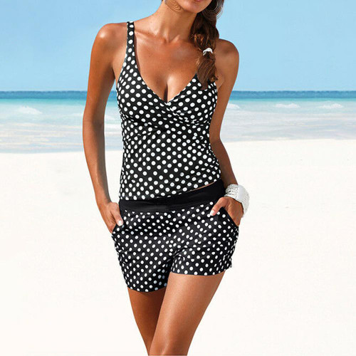 Womens Comfortable & Stylish Polka Dot Tankini with Shorts
