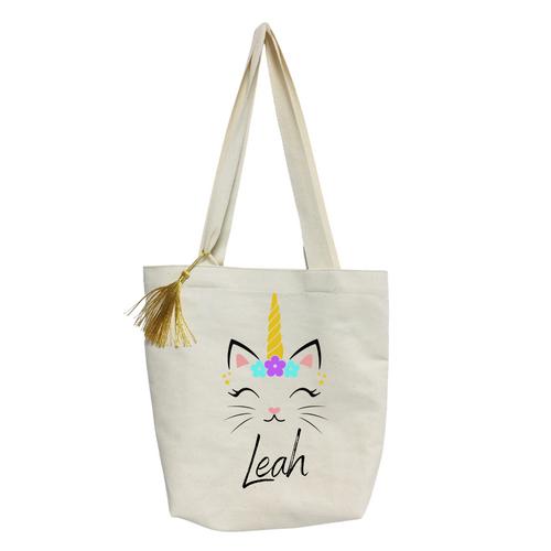 Personalized Cat Unicorn kids Tote bag