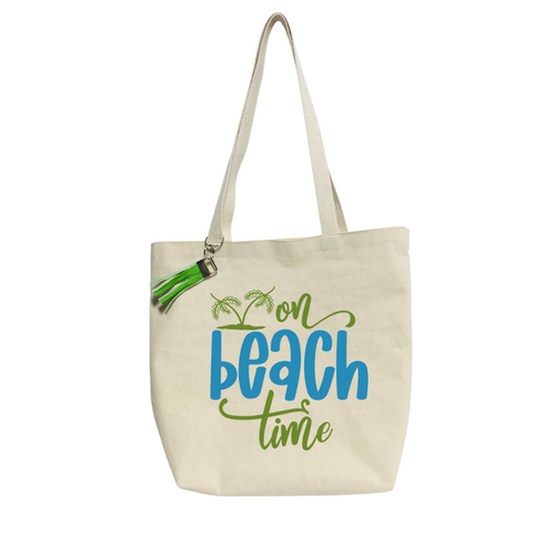On Beach Time-  Reusable& washable Canvas Tote bag