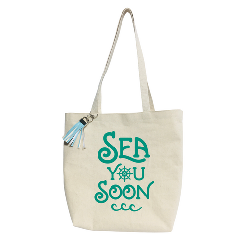 Sea you soon- Reusable & washable Canvas Tote bag