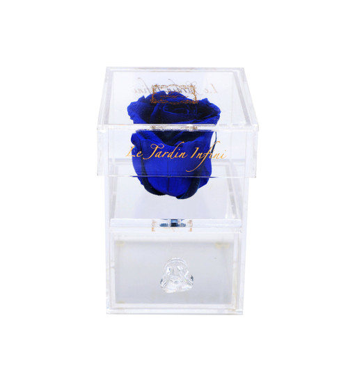 Single Royal Blue Preserved Rose - Acrylic Box With Drawer