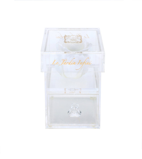 Single White Preserved Rose - Acrylic Box With Drawer