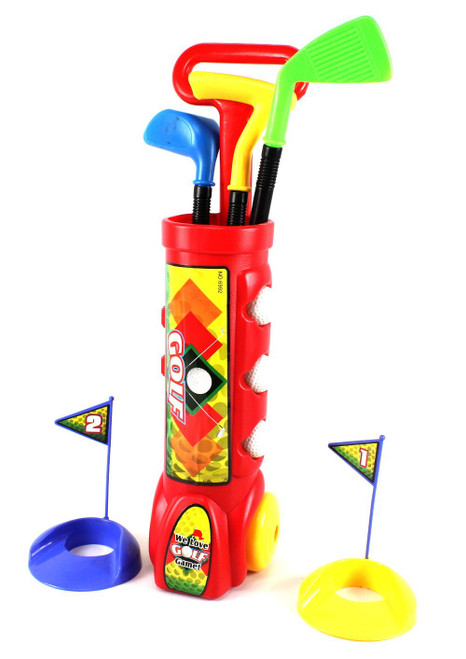 Deluxe Kid's Happy Golfer Toy Golf Set With 3 Golf Balls, 3 Types of Clubs, & 2 Practice Holes