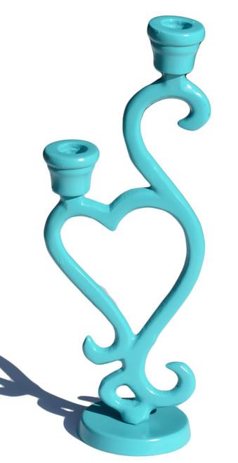 Vibhsa Decorative Turquoise Candle Holder Heart Shape- Unique Piece
