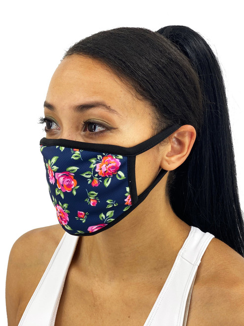 Navy Roses Face Mask With Filter Pocket- Breathe Easy