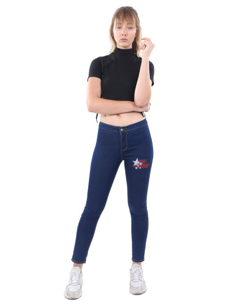 Classic Walden Skinny Jeans With Marilyn Monroe Red Star Decal