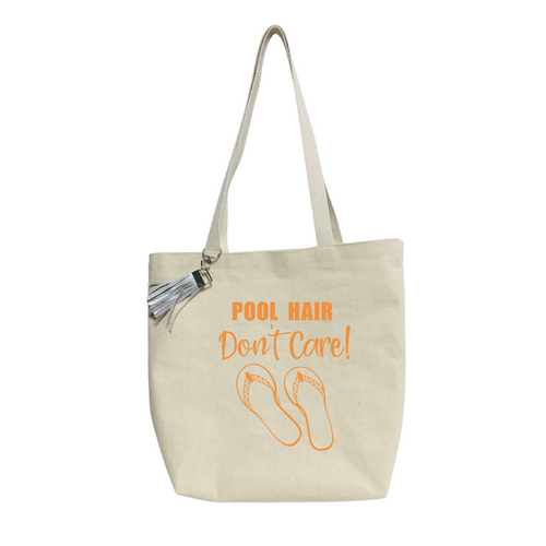 """""""Pool Hair Don´t Care""""-  Reusable &  washable Canvas Tote bag"""