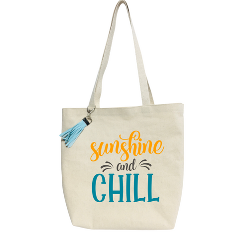 Sunshine and Chill- Reusable &  washable Canvas Tote bag