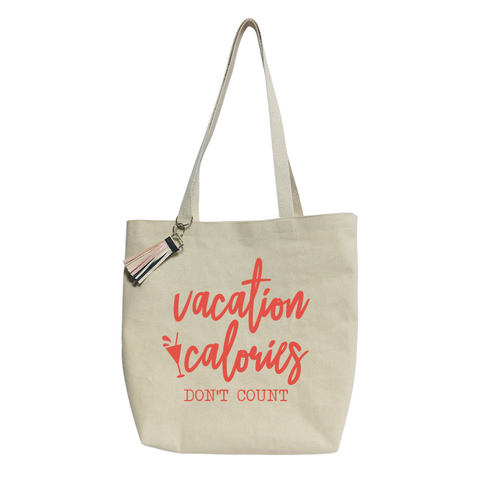 """""""Vacations Calories Don´t Count""""- Reusable &  washable Canvas Tote bag"""