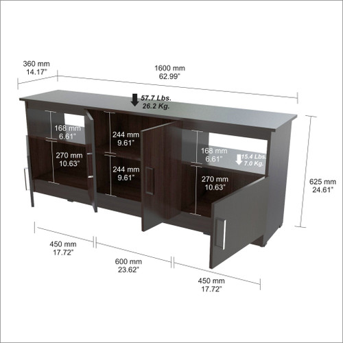 Espresso Finish Wood and Stainless Media Center TV Stand. 249825