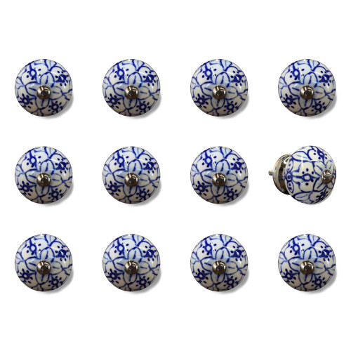 """1.5"""" x 1.5"""" x 1.5"""" White Blue and Silver Knobs 12 Pack. 321684"""