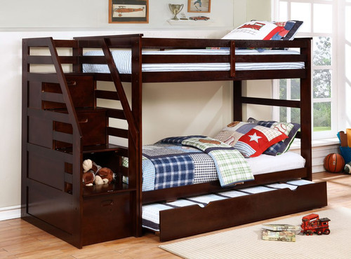 Brown Finish Twin over Twin Staircase Bunk Bed with Trundle and Storage. 373839
