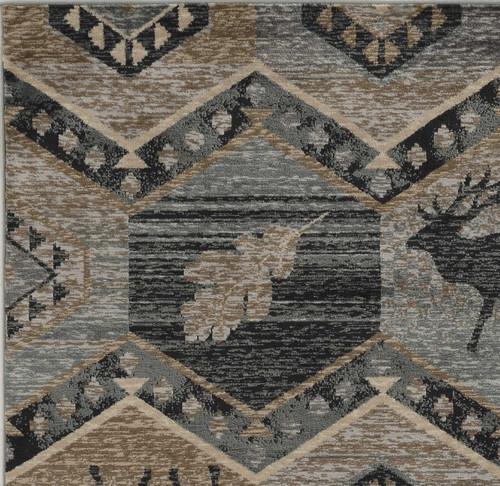8' x 10' Seafoam Winter Hexagon Pattern Indoor Outdoor Area Rug. 374423