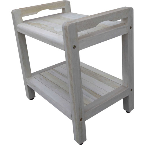 Compact Rectangular Teak Shower Outdoor Bench with Liftaide Arms in Driftwood Finish. 376709