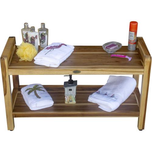 Rectangular Teak Shower Bench with Handles in Natural Finish. 376738