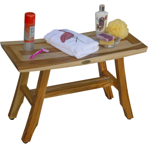 Contemporary Teak Shower Bench in Natural Finish. 376741