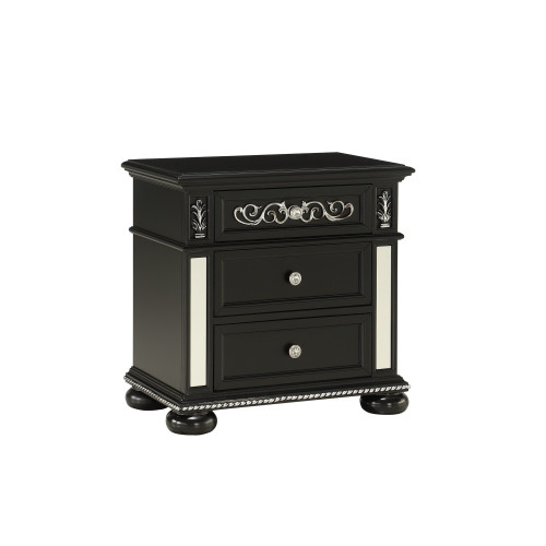 Black Jewel Heirloom Appearance Nightstant with Intricate Carvings  Mirrored Accents  2 Drawer. 384028