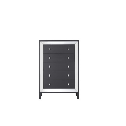 Luxurious Black Tone Chest with Elegant Trim Mirror Accent  5 Drawers. 384029