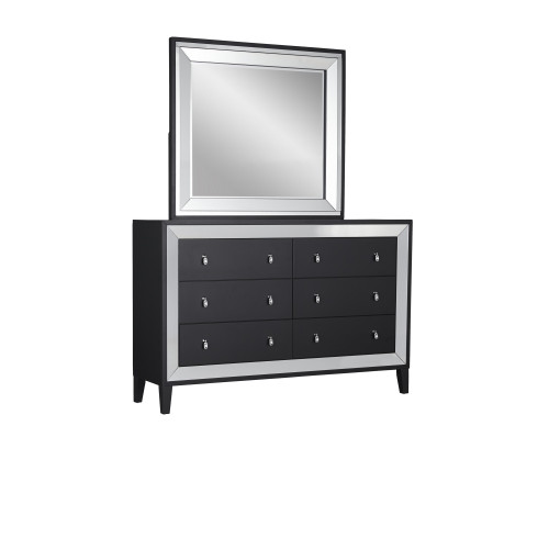 Luxurious Black Tone Dresser with Elegant Trim Mirror Accent  6 Drawers. 384030