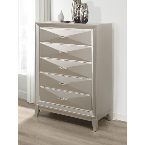 Modern Champagne Chest with 5 Spacious Drawer. 384046