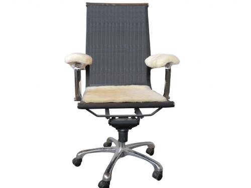 """17"""" Square Natural Green Medical Grade Sheepskin Chair Pad. 388652"""
