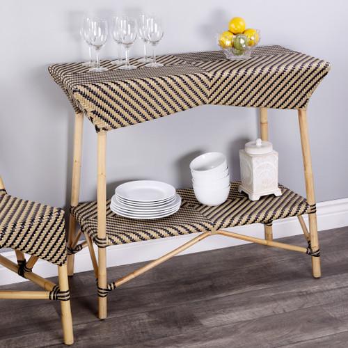 Brown and Beige Rattan Bar Cart. 388949