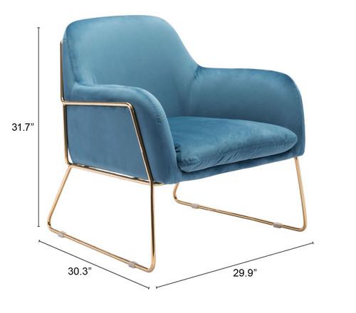 Nadir Arm Chair Blue & Gold. 389831