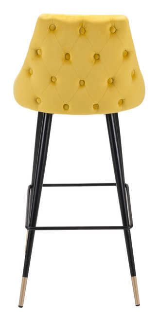 "41"" Yellow Velvet Color Pop Bar Chair. 389847"