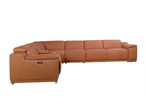 """254"""" X 280"""" X 237.4"""" Camel Power Reclining 7PC Sectional. 366353"""