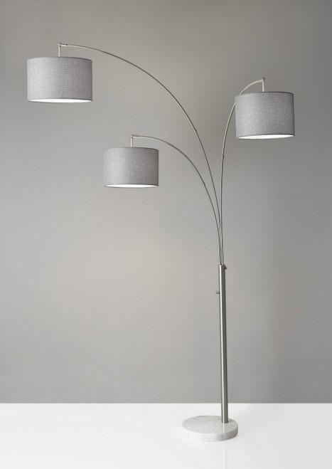 Three Light Floor Lamp Brushed Steel Metal Arc Arms. 372713