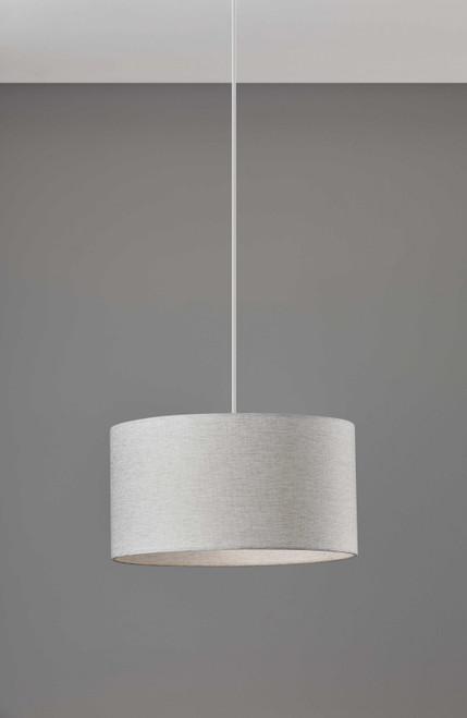 White Fabric Sleek Drum Pendant Lamp. 372882