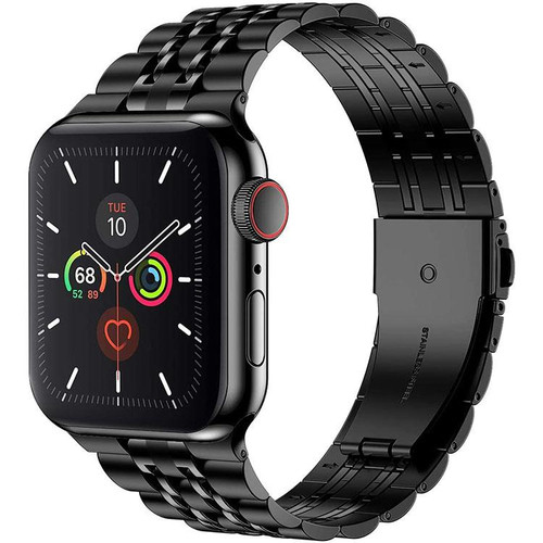 Seven Beads Build in Connector Metal Apple Watch Band : Black