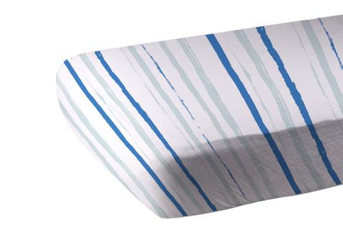 Ocean Stripe Cotton Muslin Soft Comfy Crib Sheet