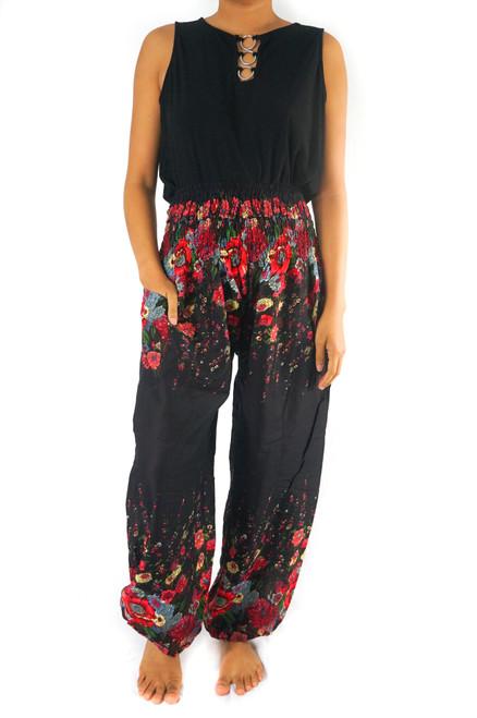 Black FLORAL Women Boho Pants Hippie Pants Yoga Pants
