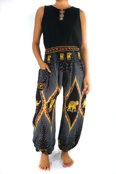 Black Elephant PEACOCK Black Pants Women Boho Pants Hippie Pants
