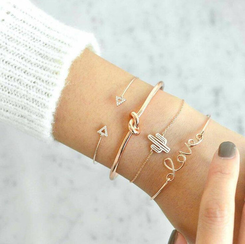 Crystal & High-Quality Zinc Alloy Love Bracelet Stack