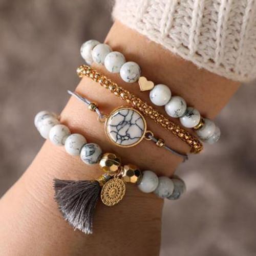 High-Quality Zinc Alloy Four Piece Bracelet Set