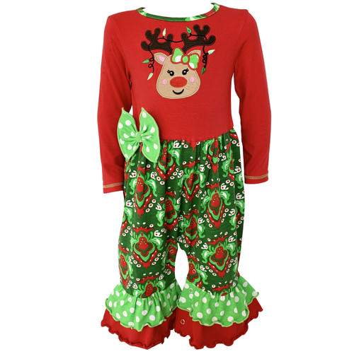 AnnLoren Comfortable Fit Baby Girls Boutique Red Green Damask Christmas Tree Rudolph Reindeer Romper One Pc 6M-24M