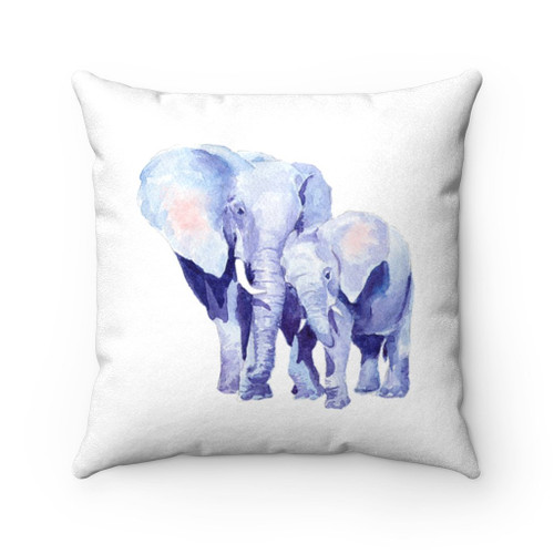 Mother and Baby Auspicious Elephant Double Sided Print Faux Suede