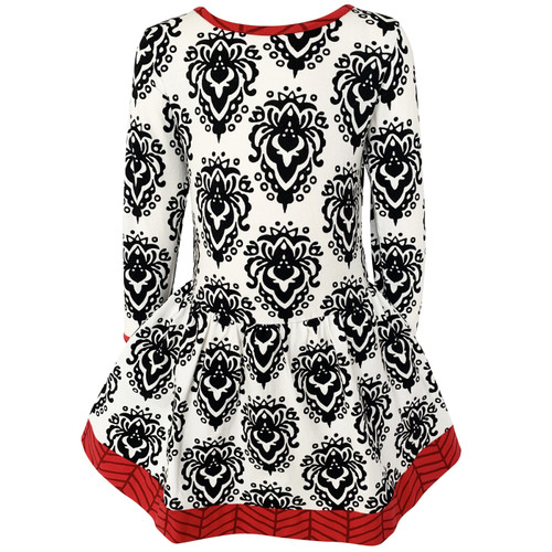 AnnLoren Comfortable Fit Baby Big Girls Boutique Holiday Christmas Damask Soft Cotton Fall Winter Dress 2/3T-11/12