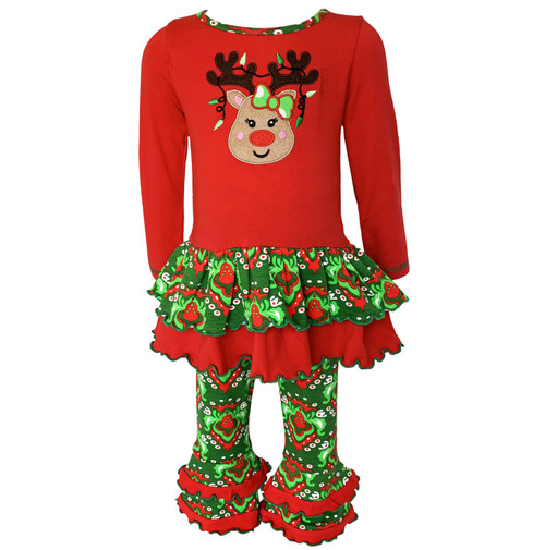 AnnLoren Comfortable Fit Girls Boutique Winter Holiday Rudolph Reindeer Tunic and Legging Set 2/3T-9/10