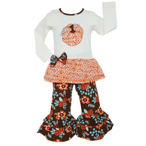AnnLoren Comfortable Fit Girls Orange Pumpkin Autumn Floral Thanksgiving Tunic & Ruffle Pants Outfit
