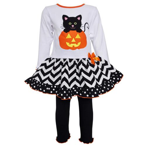 AnnLoren Comfortable Fit Girls' Halloween Orange Pumpkin and Black Cat Dress & Leggings Outfit