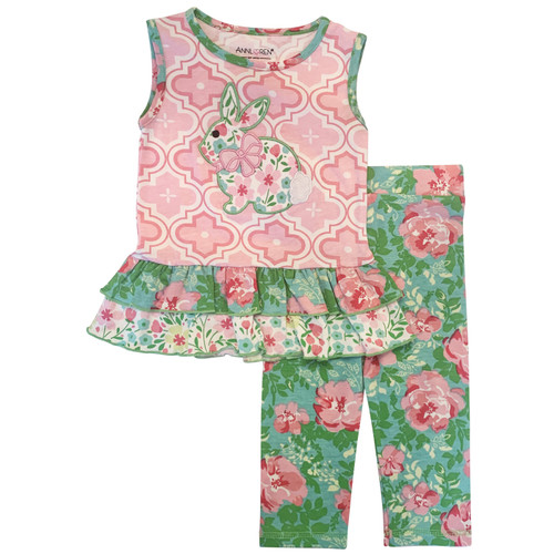 AnnLoren Comfortable Fit Little Toddler Big Girls' Easter Bunny Floral Tunic Leggings Boutique Clothing Set Sizes 2/3T - 9/10
