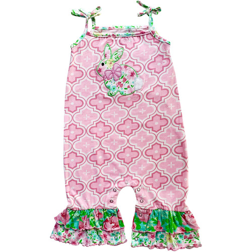 AnnLoren Comfortable Fit Easter Bunny Rabbit Spring Floral Baby Girls' Romper Toddler Jumpsuit One piece