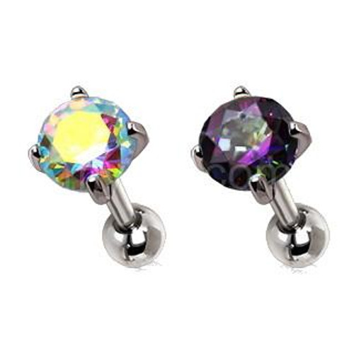 Classy 316L Stainless Steel Prong Set Iridescent Cubic Cartilage Earring