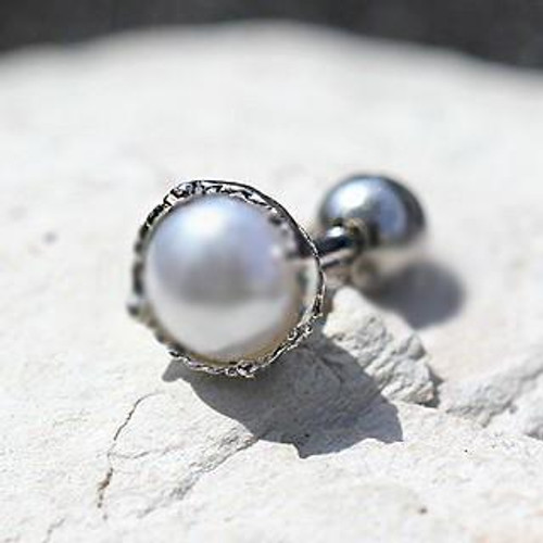 Adorable 316L Stainless Steel Crown Pearl Cartilage Earring
