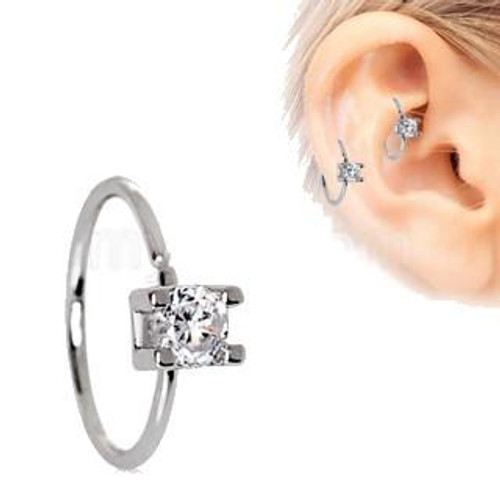 316L Stainless Steel Prong Set Clear Round CZ Cartilage Earring