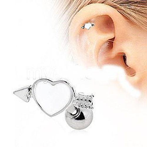 Adorable 316L Surgical Steel Arrow Through Your Heart Cartilage Earring
